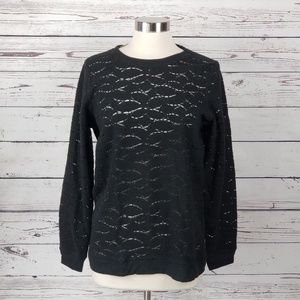 Lucky Brand Brushed Lace Tunic Sweater Top M New